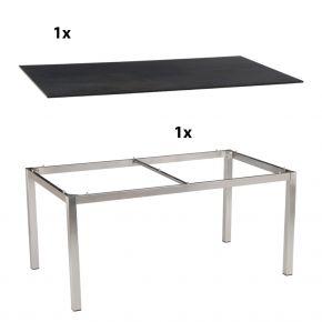 Stern Gartentisch 200x100 cm Edelstahlgestell Vierkantrohr mit Silverstar 2.0-Tischplatte, Nitro