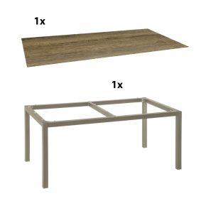 Stern Gartentisch 160x90 cm Aluminiumgestell in Taupe mit Silverstar-Tischplatte Touch, Tundra toffee
