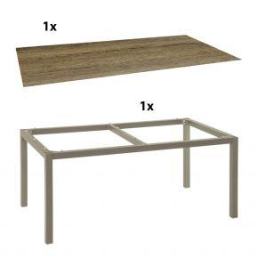 Stern Gartentisch 200x100 cm Aluminiumgestell in Taupe mit Silverstar-Tischplatte Touch, Tundra toffee