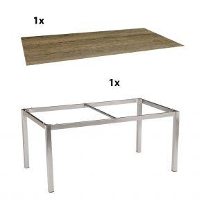 Stern Gartentisch 160x90 cm Edelstahlgestell Vierkantrohr mit Silverstar-Tischplatte Touch, Tundra Toffee