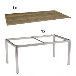 Stern Gartentisch 200x100 cm Edelstahlgestell Vierkantrohr mit Silverstar-Tischplatte Touch, Tundra Toffee