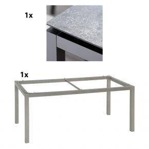Stern Gartentisch 200x100 cm Aluminiumgestell in Graphit mit Silverstar 2.0-Tischplatte, Vintage grau