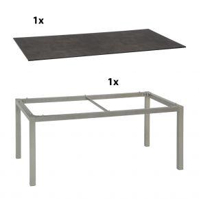 Stern Gartentisch 200x100 cm Aluminiumgestell in Graphit mit Silverstar 2.0-Tischplatte, Zement