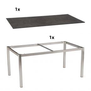 Stern Gartentisch 160x90 cm Edelstahlgestell Vierkantrohr mit Silverstar 2.0-Tischplatte, Zement