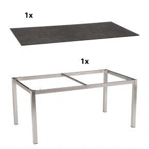 Stern Gartentisch 200x100 cm Edelstahlgestell Vierkantrohr mit Silverstar 2.0-Tischplatte, Zement