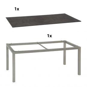 Stern Gartentisch 160x90 cm Aluminiumgestell in Graphit mit Silverstar 2.0-Tischplatte, Zement