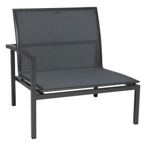Stern SKELBY Lounge Seitenelement anthrazit mit Textilenbezug karbon und Aluminiumarmlehne rechts