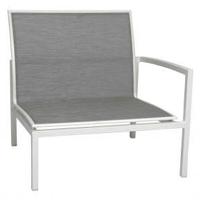 Stern SKELBY Lounge Seitenelement weiß mit Textilenbezug silber und Aluminiumarmlehne links