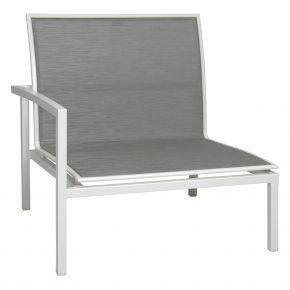 Stern SKELBY Lounge Seitenelement weiß mit Textilenbezug silber und Aluminiumarmlehne rechts