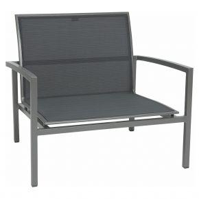 Stern SKELBY Lounge Sessel graphit mit Textilenbezug silbergrau und Aluminiumarmlehnen