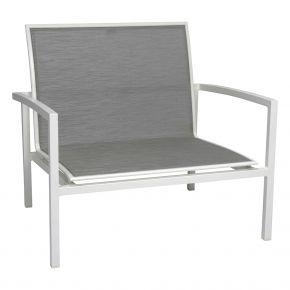Stern SKELBY Lounge Sessel weiß mit Textilenbezug silber