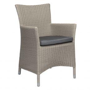 Stern Sortino Sessel, Geflecht Vintage weiß inkl. Sitzkissen seidengrau 100% Polyacryl mit Reißverschluss