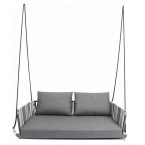Stern SPACE 2-Sitzer-Schaukel Aluminium anthrazit mit Textilenbespannung grau zweifarbig inkl. Sitz- und Rückenkissen seidengrau, 100% Polyacryl mit Reißverschluss