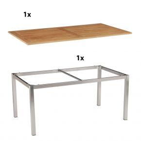 Stern Gartentisch 160x90 cm Edelstahlgestell Vierkantrohr mit Tischplatte aus Teakholz