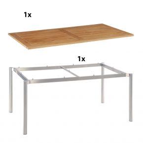 Stern Gartentisch 160x90 cm Edelstahlgestell Rundrohr mit Tischplatte aus Teakholz