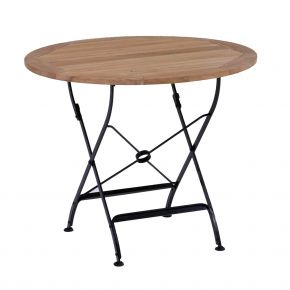 ZEBRA Tisch FLORENCE aus Flachstahl und Teakholz, Ø90 cm, klappbar