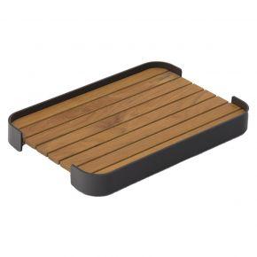 Zebra Carry Tablett rechteckig 48x32,5 cm aus Aluminium pulverbeschichtet graphite und Teak