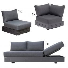 Zebra CUBO Lounge Set aus Aluminium graphit inkl. Olefin-Kissen dark grey