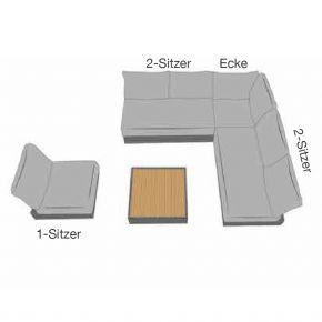 Zebra Cubo Loungeset 5-tlg. aus Aluminium graphit inkl. Olefin-Kissen dark grey mit Eckelement