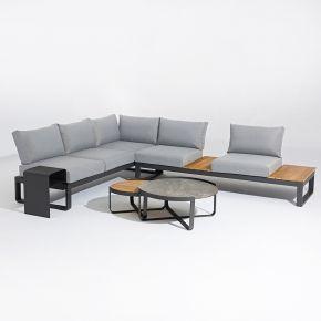 Zebra Fly Lounge Komplettset Aluminium graphite, Teakholz Teakholz, Glas-Keramik grau Aluminium Gestell, Teakholz Gestell