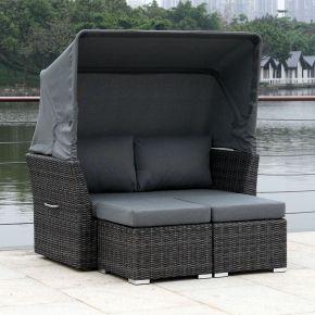 ZEBRA Jack Lounge Junior Set taupe mit Sonnendach und Rückenkissen pepita grey