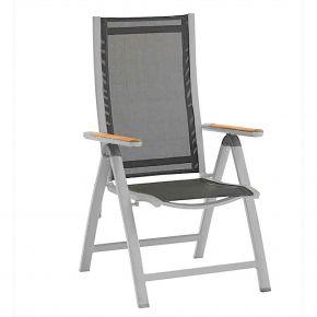 Zebra Klappsessel Fly Alu-Rahmen pulverbeschichtet palladium, hochwertiges Textilen carbon grey, Teakarmlehnen