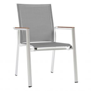 Zebra Stapelsessel Fly Alu-Rahmen pulverbeschichtet white, hochwertiges Textilen light grey, Teakarmlehnen