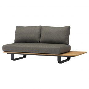 Zebra Park Lounge 2-Sitzer, Alu graphite mit Teak, Bezug Sunproof Fontelina und Rope Rückenlehne