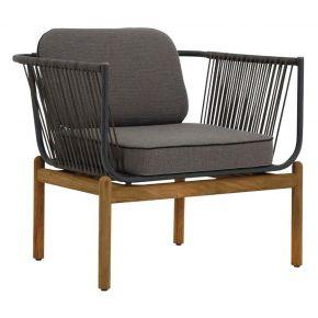 Zebra Pollux Lounge 1-Sitzer, Teak gebürstet, Aluminium graphite und Rope brown brushed