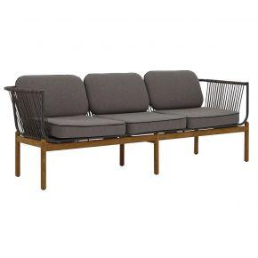 Zebra Pollux Lounge 3-Sitzer, Teak gebürstet, Aluminium graphite und Rope brown brushed
