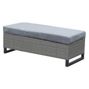 Zebra Soho Dining Lounge Bank, Aluminium graphite mit Halbrundgeflecht slate inkl. Kissen