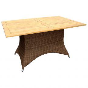 ZEBRA Tisch Loomus rechteckig Geflecht coffee, Alu-Rahmen und Teakholzplatte