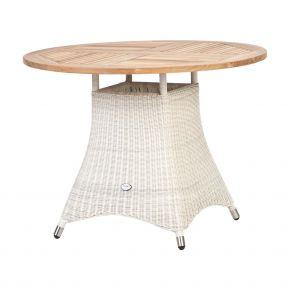 ZEBRA Tisch Loomus rund Geflecht silkwhite, Alu-Rahmen und Teakholzplatte