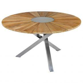 ZEBRA Tisch Oryx aus Edelstahl und recycelt Teak Ø135 cm