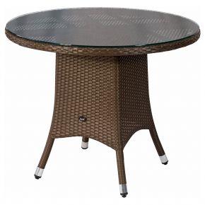 ZEBRA Tisch Mary Flachgeflecht java, Alu-Rahmen und Sicherheitsglasplatte, Ø90cm