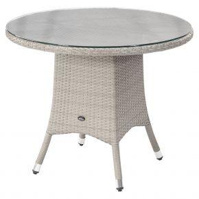 ZEBRA Tisch Mary Flachgeflecht snowwhite, Alu-Rahmen und Sicherheitsglasplatte, Ø90cm