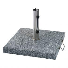 Zebra Schirmständer BASIS 40 kg aus Granit grau poliert, Edelstahlhülse, Rollen und Griff