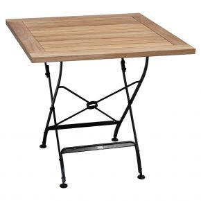 ZEBRA Tisch FLORENCE aus Flachstahl und Teakholz, 80x80 cm, klappbar