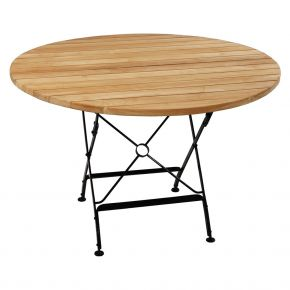 ZEBRA Tisch FLORENCE aus Flachstahl und Teakholz, Ø115 cm, klappbar
